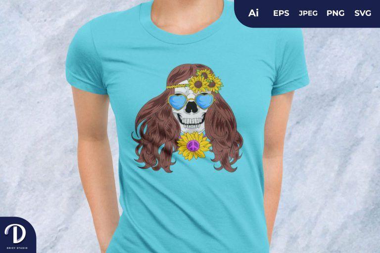 Hipster Woman Skull for T-Shirt Design