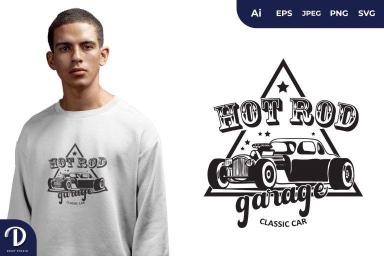 Engine in The Hood Hot Rod Garage for T-Shirt Design