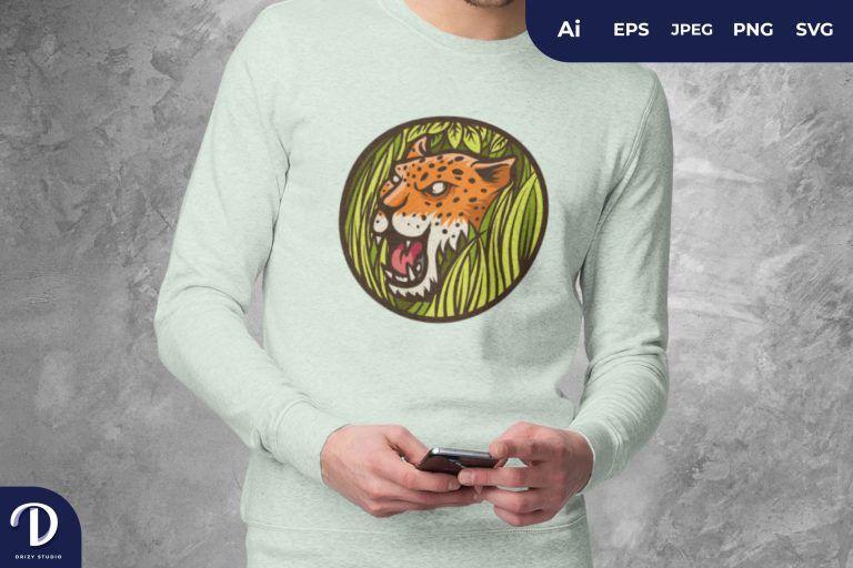 Left View Jaguar Head on a Bush Badge For T-Shirt Design