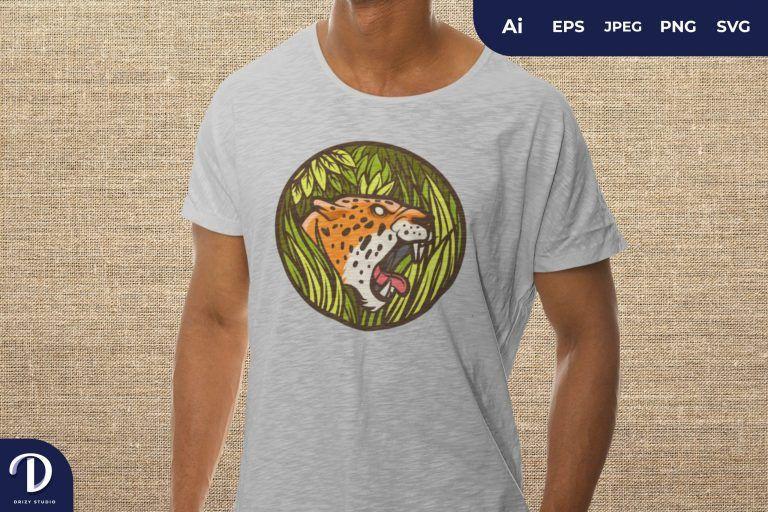 Right View Jaguar Head on a Bush Badge For T-Shirt Design
