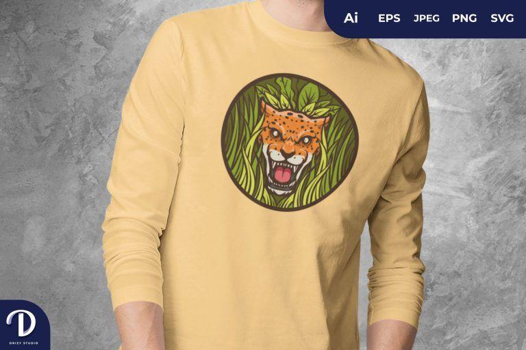 Front View Jaguar Head on a Bush Badge For T-Shirt Design