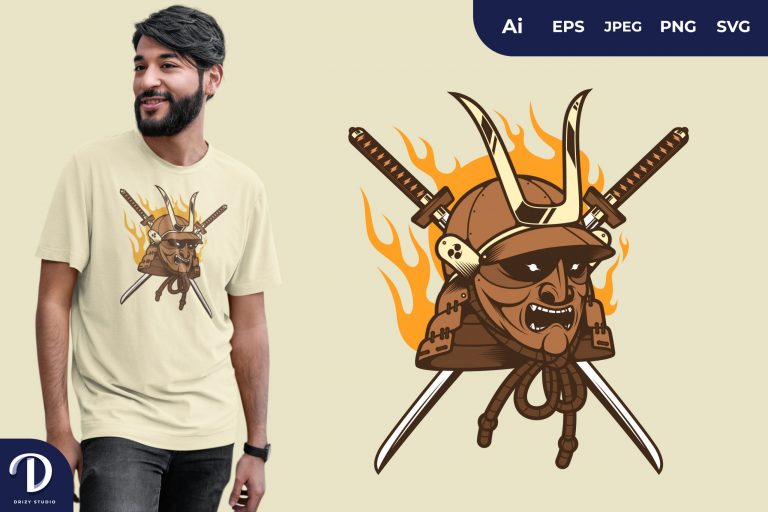 Brown Japanese Samurai Mask for T-Shirt Design