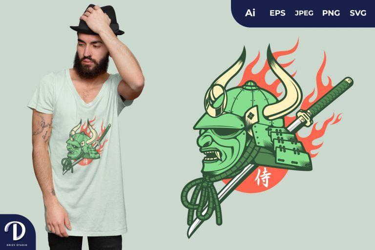Green Japanese Samurai Mask for T-Shirt Design