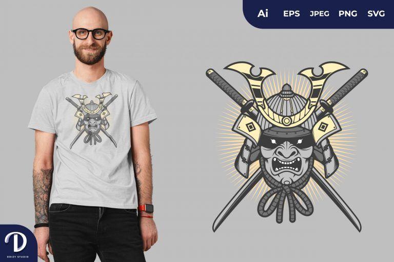 Japanese Samurai Mask for T-Shirt Design