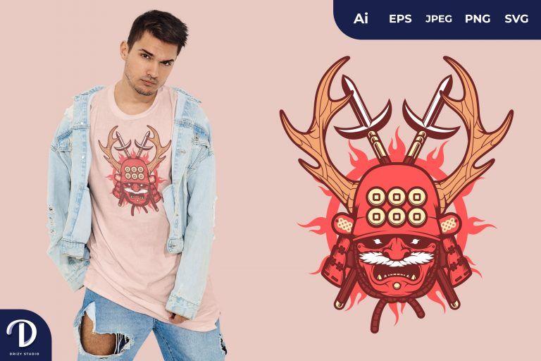 Red Japanese Samurai Mask for T-Shirt Design
