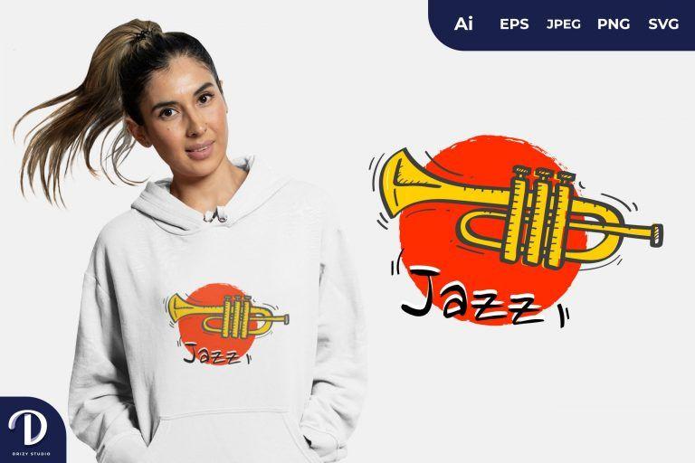Trumpet Jazz for T-Shirt Design
