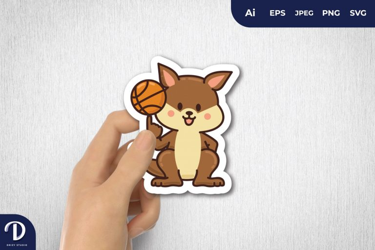 Kangaroo Basketball Mascot for Sticker