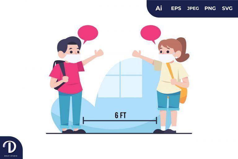 Kids Social Distance Illustration