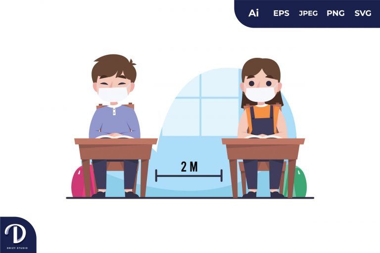 Kids Social Distance in Classroom