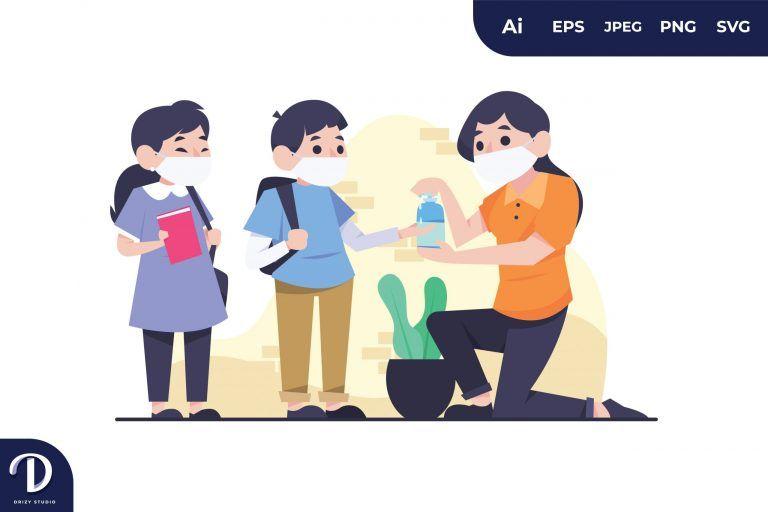 Kids Using Hand Sanitizer