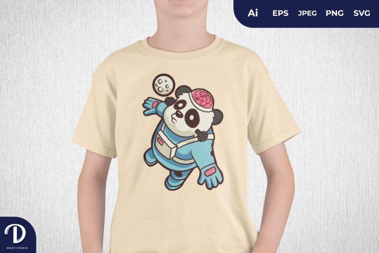 Flying Labcraft Panda Astronaut for T-Shirt Design