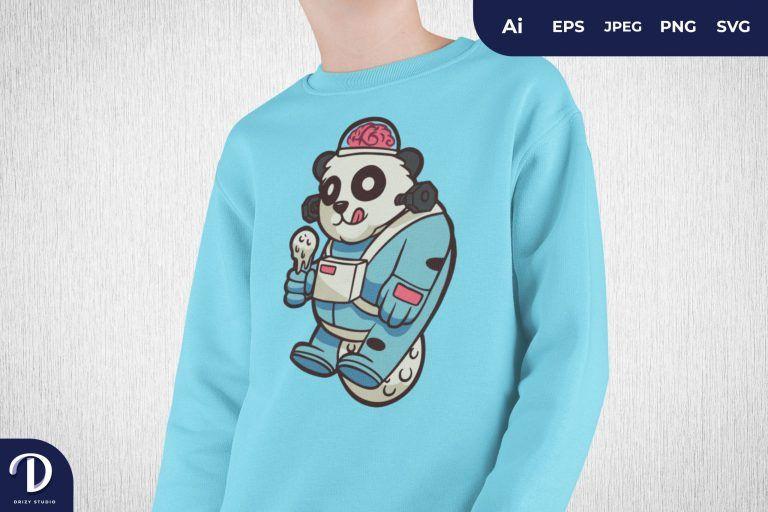 Preview image of Enjoying Ice Cream Labcraft Panda Astronaut for T-Shirt Design