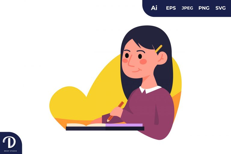 Girl on Writing Learning Illustration