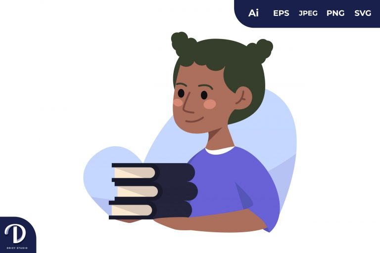 Girl With The Books Learning Illustration