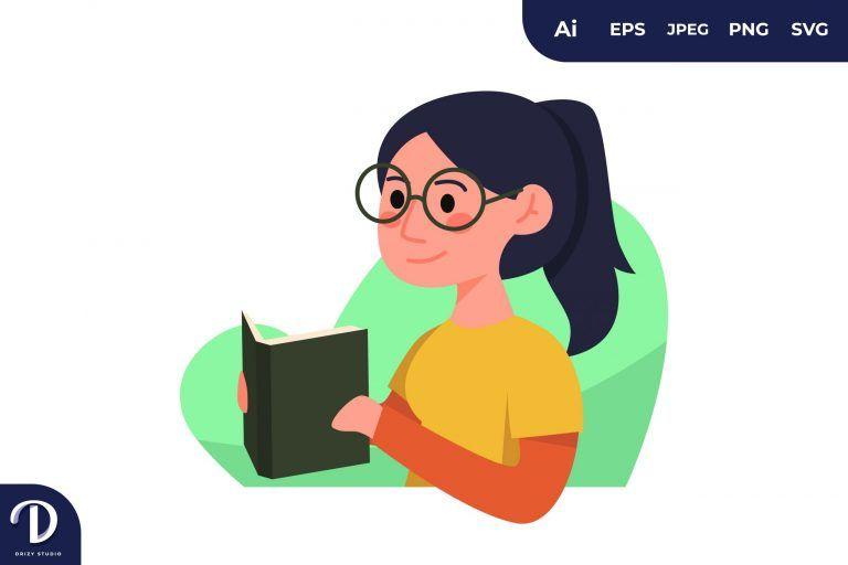 Glasses Girl Learning Illustration