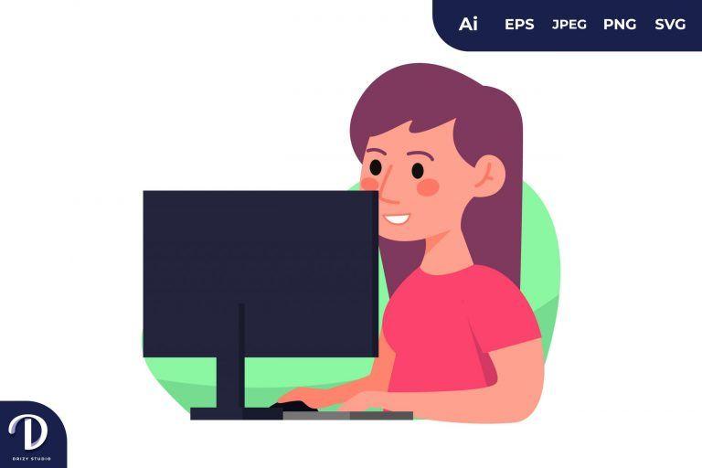 PC Girl Learning Illustration