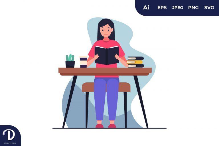 Reading Girl Learning Illustration