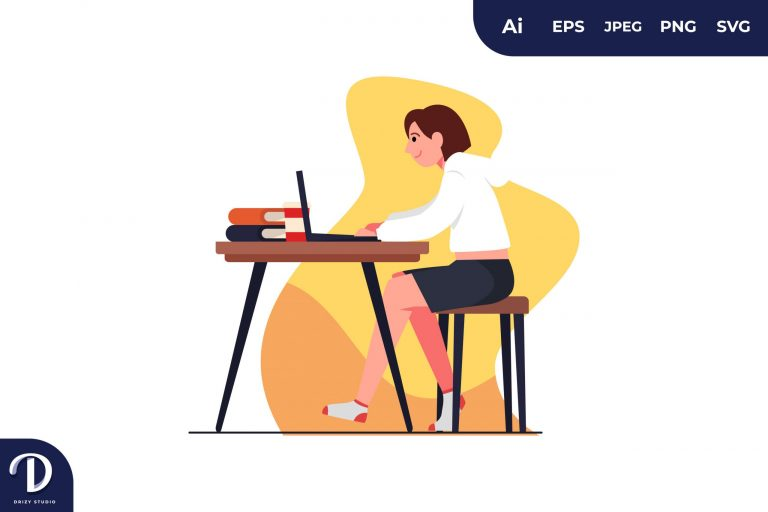 Preview image of Typing Girl Learning Illustration