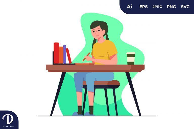 Writing Girl Learning Illustration