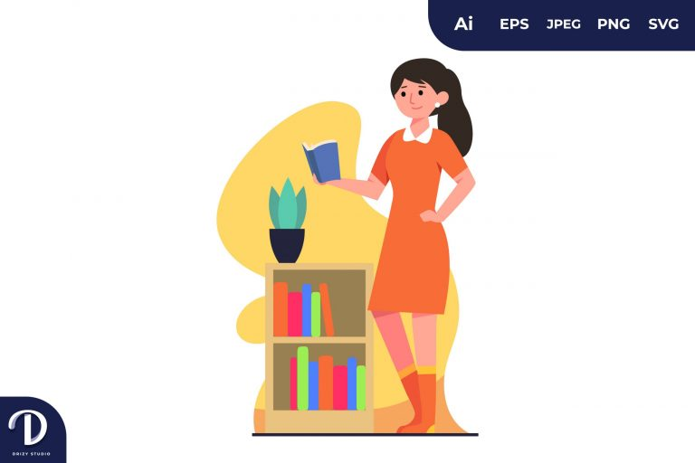 Reading While Standing Learning Illustration