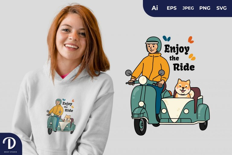 Man With Dog Life is a Journey Enjoy the Ride for T-Shirt Design