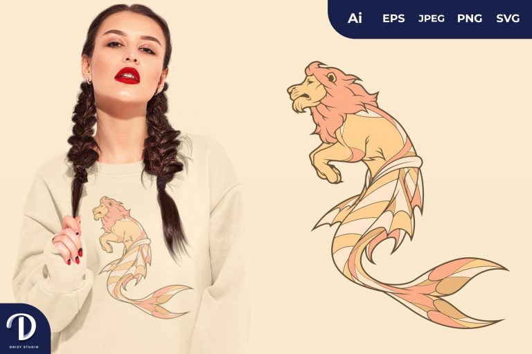 Lion Mermaid Fantasy Animal for T-Shirt Design