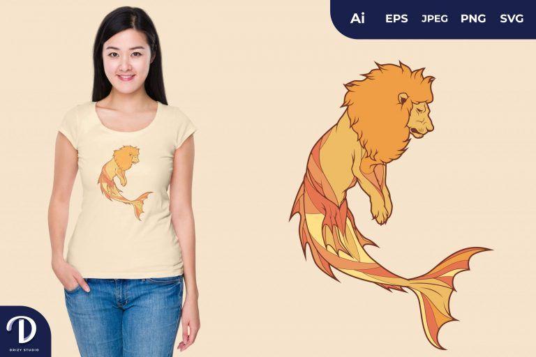 Orange Lion Mermaid Fantasy Animal for T-Shirt Design