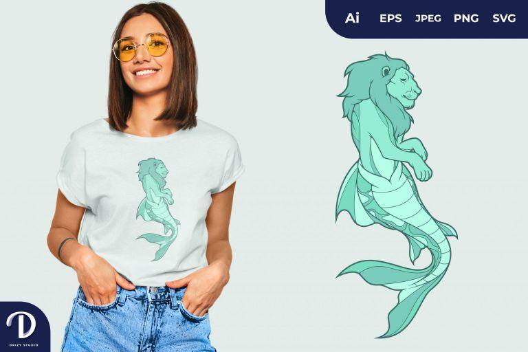 Tosca Lion Mermaid Fantasy Animal for T-Shirt Design