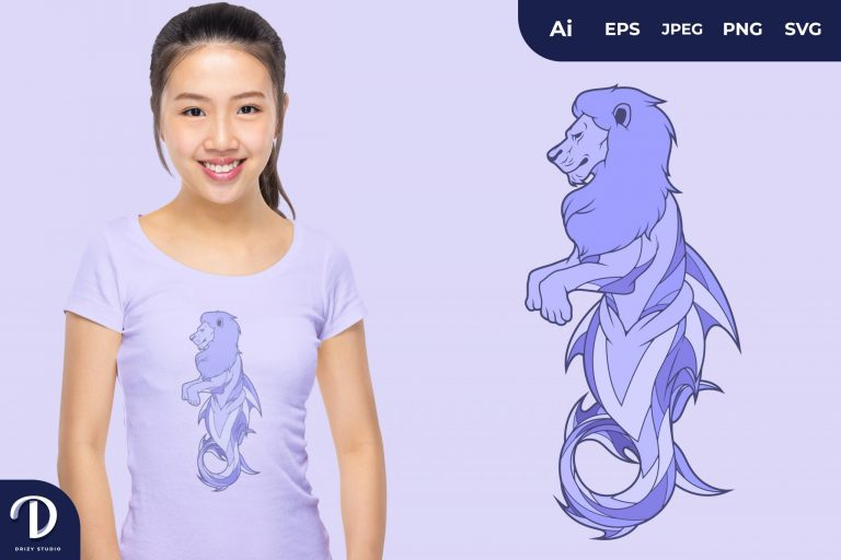 Preview image of Blue Lion Mermaid Fantasy Animal for T-Shirt Design