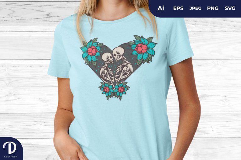 Love Shape Romantic Skull for T-Shirt Design