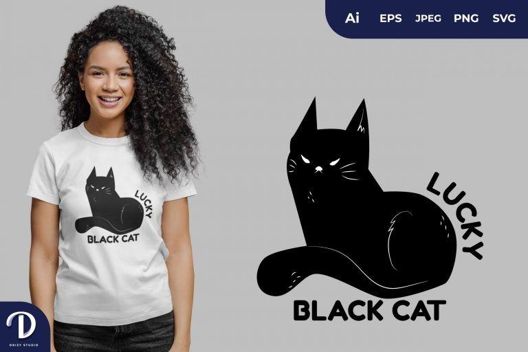 Sit Lucky Black Cat for T-Shirt Design