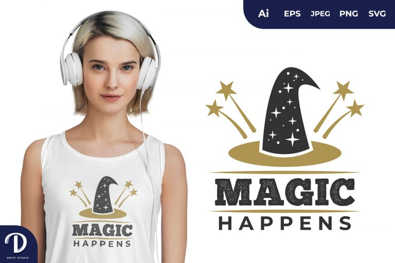 Preview image of Wizard Hat Magic Happens for T-Shirt Design