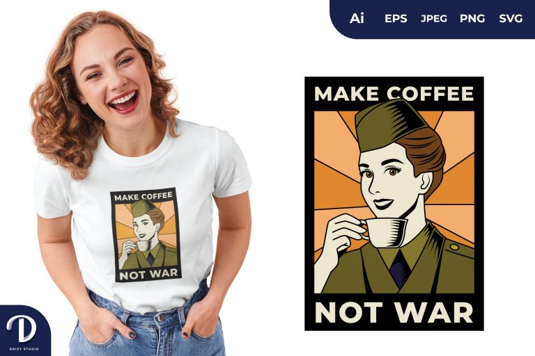 Preview image of Lady Make Coffee Not War for T-Shirt Design