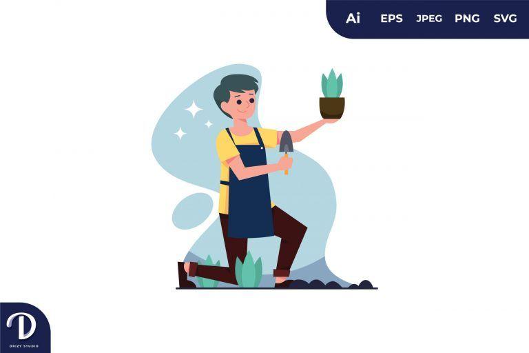 Man Planting Illustration