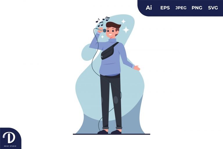 Preview image of Man Singing With Microphone Illustration
