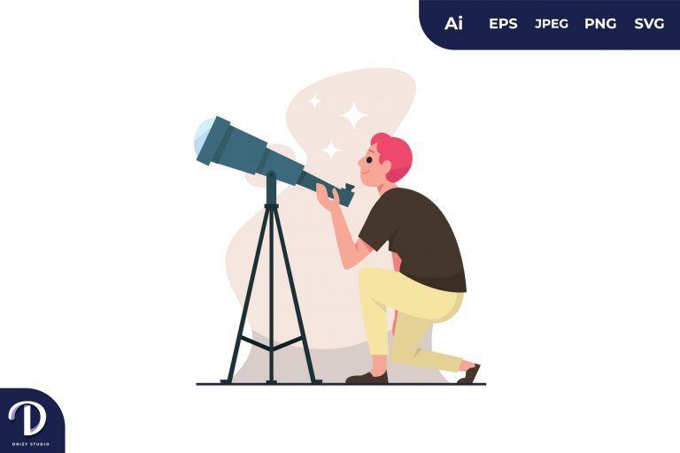 Man Using Binoculars Illustration