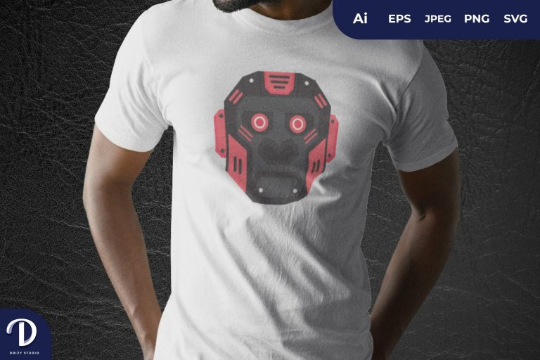 Red Mecha Gorilla Head For T-Shirt Design