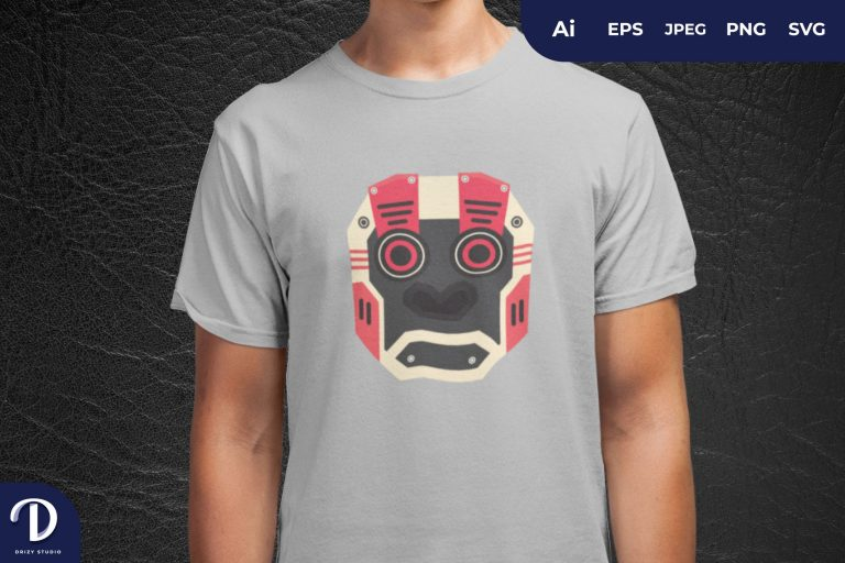 Preview image of Goggle Mecha Gorilla Head For T-Shirt Design