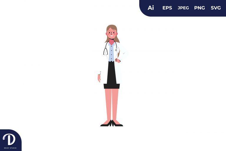 Blonde Women Doctor Medical Team Illustration