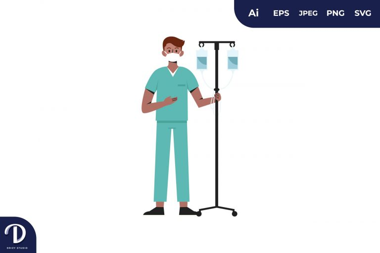 Infusion Stand Medical Team Illustration