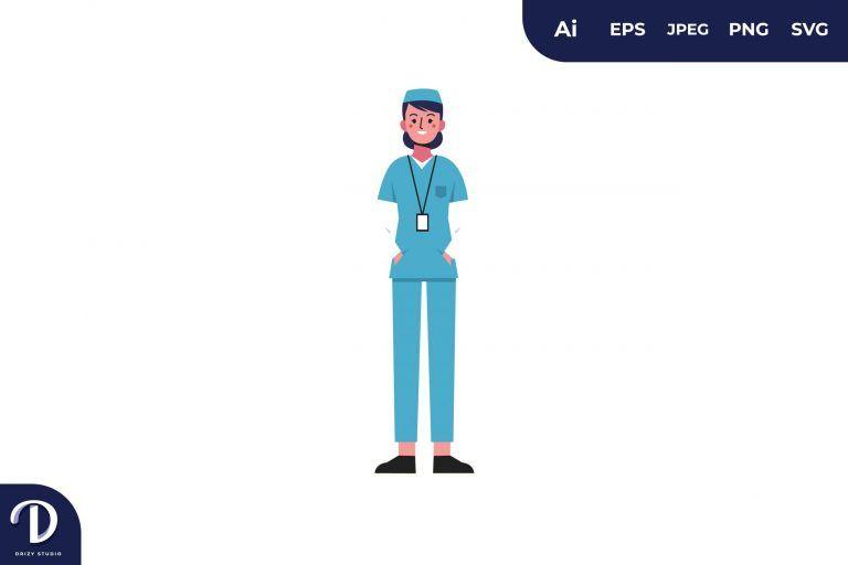 Cool Women Nurse Medical Team Illustration