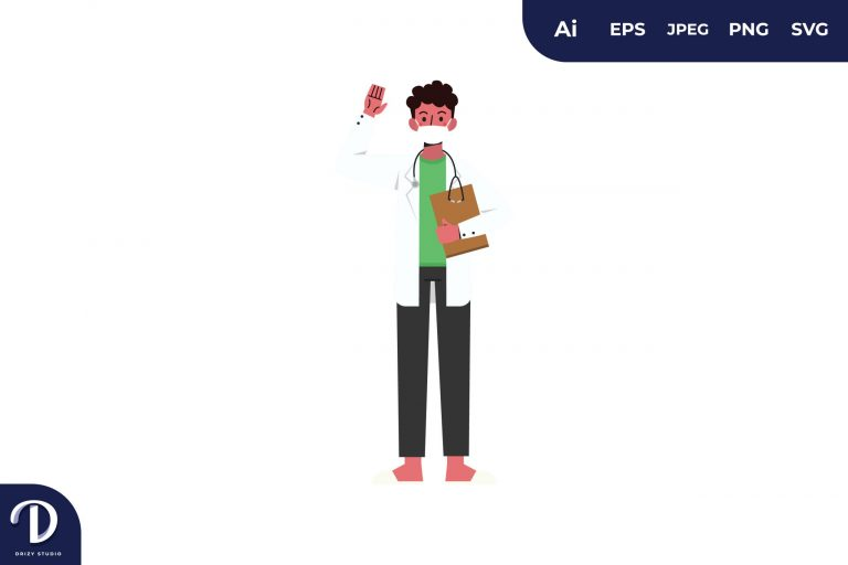 Preview image of Men with Mask Medical Team Illustration