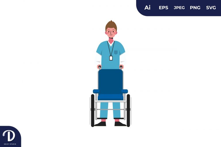 Men with Wheel Chair Medical Team Illustration