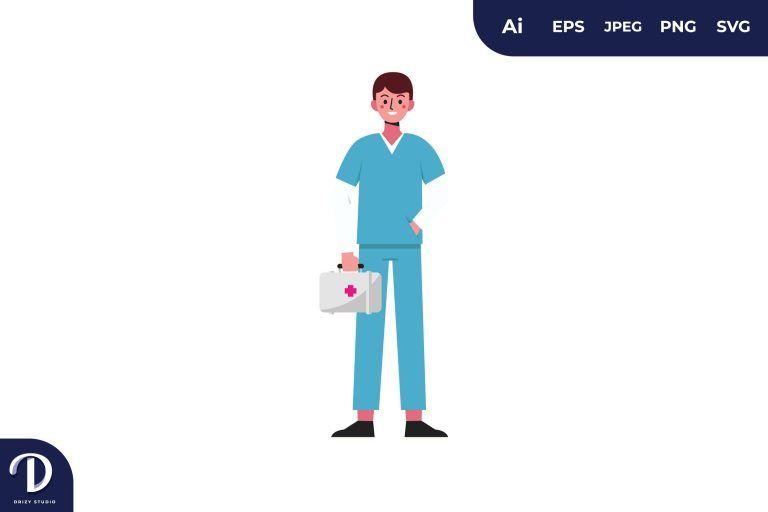 First Aid Kit Medical Team Illustration