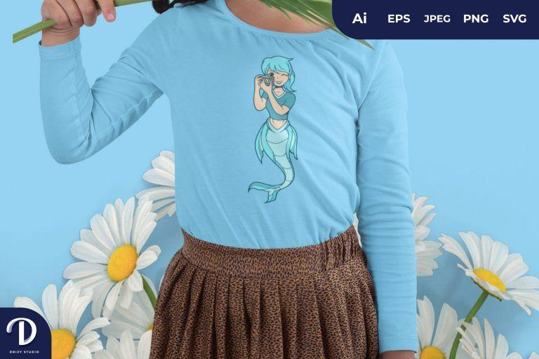 Taking Photo Mermaid Photographer for T-Shirt Design
