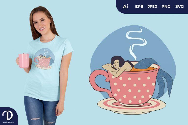 Polka Dot Mug Mermaids Tea for T-Shirt Design