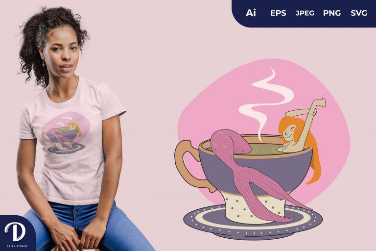 Preview image of Purple Mug Mermaids Tea for T-Shirt Design