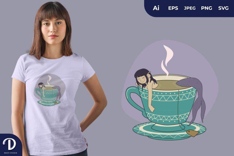 Tosca Mug Mermaids Tea for T-Shirt Design