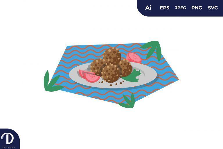 Kofta Middle East Food Illustration