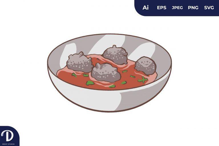 Kufta Bozbash Middle East Food Illustration
